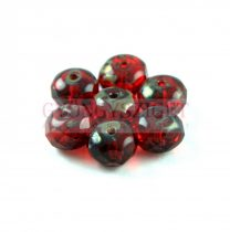 Doughnut - Czech Firepolished Faceted Bead - 6x9mm - Siam Traventin