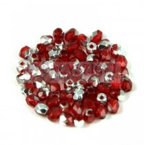 Czech Firepolished Round Glass Bead - dark red silver - 3mm