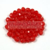 Cseh csiszolt golyó gyöngy - transzparens piros -3mm