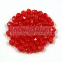 Cseh csiszolt golyó gyöngy - Transparent Red - 3mm