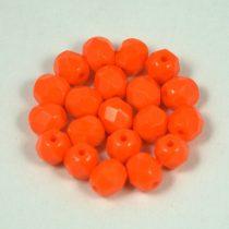 Cseh csiszolt golyó gyöngy - telt narancs -6mm
