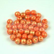 Cseh préselt golyó gyöngy - Opaque Orange Gold Patina - 4mm