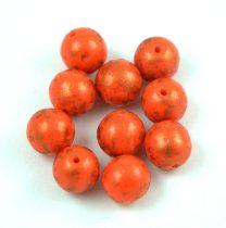 Cseh préselt golyó - Coral Red Copper Patina - 8mm