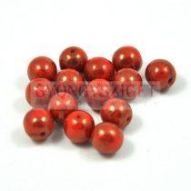 Cseh préselt golyó gyöngy -  piros réz terracotta - 8mm