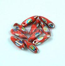 Lándzsa (szirom) cseh préselt üveggyöngy - Opaque Red Peacock - 3x11mm