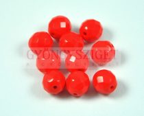 Czech Firepolished Round Glass Bead - opaque red - 8mm