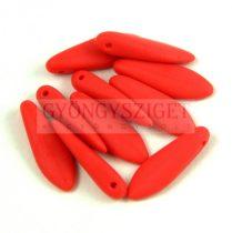 Lándzsa (szirom) cseh préselt üveggyöngy - Coral Red Matt - 5x16mm