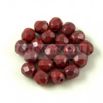 Czech Firepolished Round Glass Bead - Opaque Red Blue Luster - 6mm