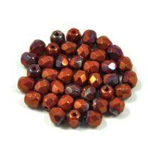 Cseh csiszolt golyó gyöngy - piros korall bronz vega lüszter-4mm