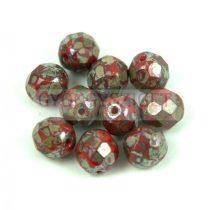 Cseh csiszolt golyó gyöngy - Opaque Red Travertin - 8mm