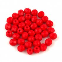 Czech Firepolished Round Glass Bead - opaque pepper red - 6mm
