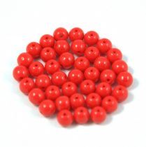 Czech Pressed Round Glass Bead - Red - 4mm