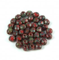 Czech Firepolished Round Glass Bead - picasso opaque dark red - 4mm
