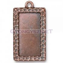 Textured Rectangle Frame-antk vörösréz medál alap