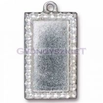 Textured Rectangle Frame-antik ezüst medál alap