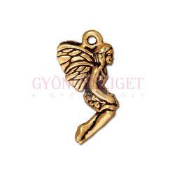Medál - angyal levéllel - antik arany színű
