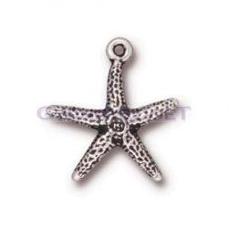 Medál - tengeri csillag - antik ezüst színű - 20mm