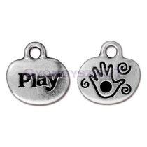 Medál - Play - antik ezüst színű - 14mm