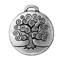 Medál - Életfa - antik ezüst színű - 26.5mm