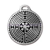 Medál - labirintus - antik ezüst színű