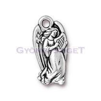 Medál - hárfás angyal - antik ezüst színű