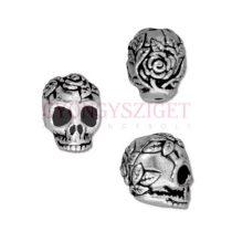 Fémgyöngy - Rose Skull - antik ezüst színű