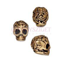 Fémgyöngy - Rose Skull - antik arany színű