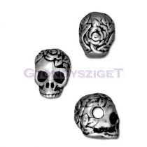 Fémgyöngy - koponya - antik ezüst színű - 10x10mm