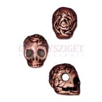 Fémgyöngy - Skull - vörösréz színű