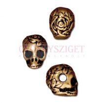Fémgyöngy - Skull - antik arany színű