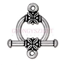 T-kapocs - levél deco - antik ezüst színű
