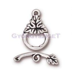 T-kapocs - szőlőlevél - antik ezüst színű