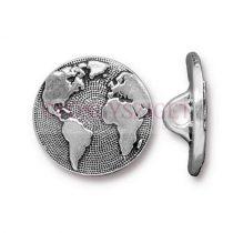 Fémgomb - Earth- antik ezüst