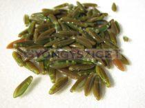 Lándzsa (szirom) cseh préselt üveggyöngy két lyukkal - Green Brown Blend -5x16mm