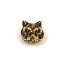 Fémgyöngy - párduc - antik arany színű - 8x13mm