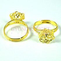 Gyűrűalap - áttört virágmintás - arany színű - állítható - 12mm - 11