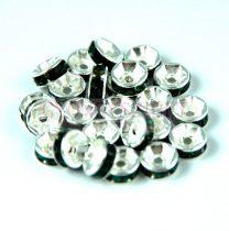 Rondelle ezüst színű - emerald - 6mm