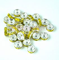 Rondelle ezüst színű - yellow opal - 6mm