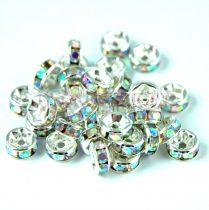 Rondelle ezüst színű - crystal ab strasszal - 6mm