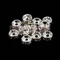 Rondelle ezüst színű - crystal strasszal - 6mm