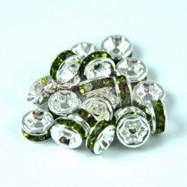 Rondelle ezüst színű - oliva - 6mm