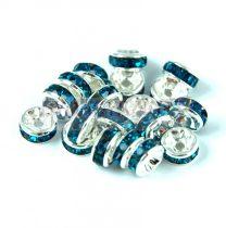 Rondelle ezüst színű - indicolite - 6mm