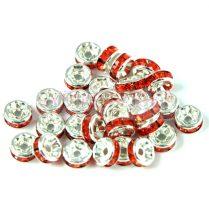 Rondelle ezüst színű - orange - 6mm