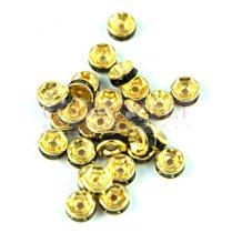 Rondelle arany színű - jet strasszal - 6mm