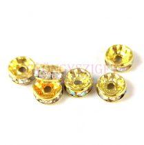 Rondelle arany színű - Crystal AB strasszal - 8mm