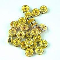 Rondelle arany színű - crystal strasszal - 6mm