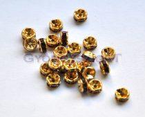 Rondelle arany színű - ametiszt strasszal - 5mm