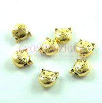 Fémgyöngy - macska - antik arany színű - 8mm