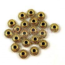 Fémgyöngy - rope - arany színű - 6mm