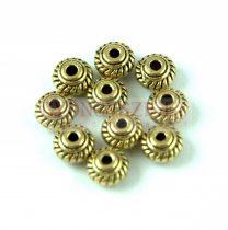 Fémgyöngy - rope - antik arany színű - 7mm